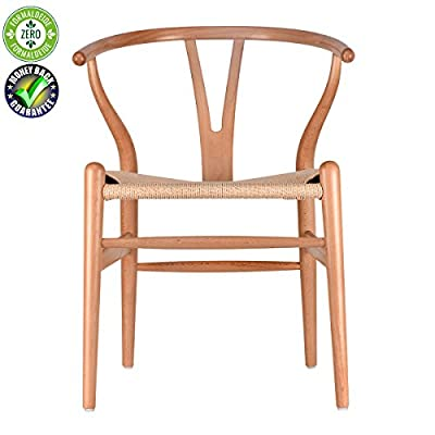 Solid Wood Dining Chair Cafe Rattan Chair Household Log Computer Chair Y Chair Wishbone Backrest (Beech) - ♥【Solid wood Chair,solid and durable】adopt European high-end beech wood or American Ash wood,durability of more than 30 years for normal usage ♥【Comfort,eco-friendly,healthy】Ergonomic design for most comfortable sitting posture,the surface is protected by eco-friendly neutral wax oil and no use of paint,perfectly shows its log color,simple and graceful,eco-friendly and your family's health protected ♥【Classic design,unique joint,no nails】Y Chair is designed in 1950 by Hans J. Wegner who is the Chair Design master,with justified structure,no use of one nail,comfortable and safe,fully shows features of the material,with perfect outline and details,comfortable and simple - kitchen-dining-room-furniture, kitchen-dining-room, kitchen-dining-room-chairs - 41BvP ysQzL. SS400  -