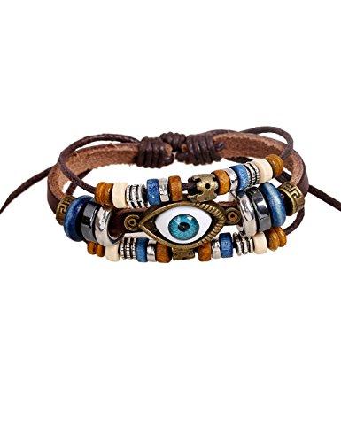 Unisex Mens & Womens Big Eye Sign Beads Multi-Strand Braided Charm Leather Bracelets(Brown) - Multi Gemstone Bracelet Watch