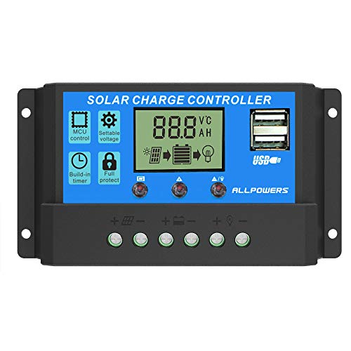 ALLPOWERS Solar Charge Controller 20A Intelligent Solar Panel Battery...