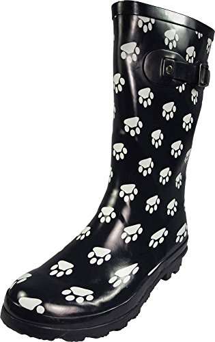 NORTY Womens Hurricane Wellie Gloss Mid-Calf Paw Printed Rain Boot, Navy 39697-7B(M) US (7 Boots Size Women Rain)