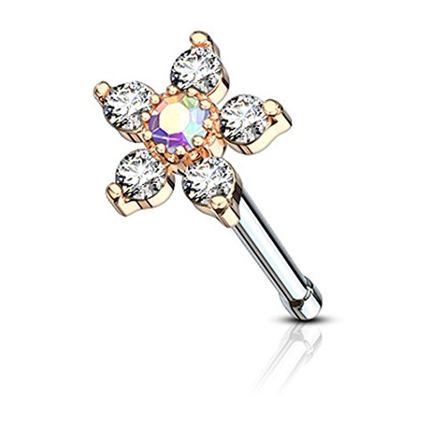 (Forbidden Body Jewelry 20g Rose Gold IP Plated Surgical Steel Nose Stud w/Big Bling 6-CZ Crystal Flower, Aurora Borealis/Clear)