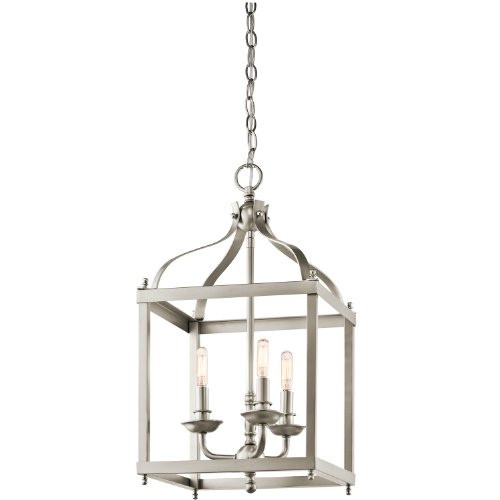 Kichler 42566NI Larkin 3-Light Foyer Pendant in Brushed Nickel Entry Lantern Foyer Lights