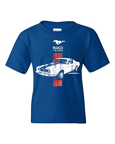 - Ford Mustang 50 Years Youth T-Shirt GT Boss 302 Shelby Cobra Tee Royal Blue M