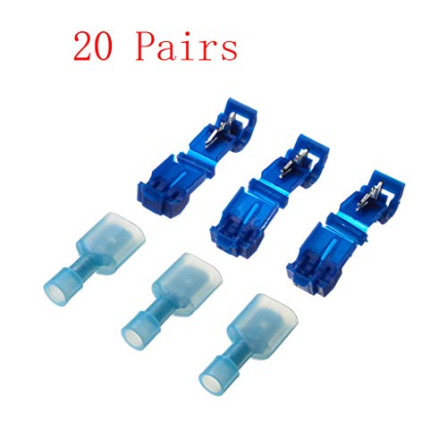 (Dergo ☀20/40/60/80/100 Pairs Quick Lock Splice Wire Connector Terminal Crimp Clip Car Wiring Cable Kit (A))