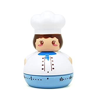 Golandstar Cute Cartoon Chef Timers 60 Minutes Mechanical Kitchen Cooking Timer Clock Loud Alarm Counters Mini Size Manual Timer (Blue)