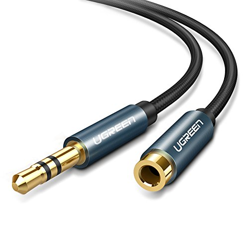 UGREEN 3M Cable 3.5mm Macho a Hembra Alargador de Auxiliar, Cable Extension Audio 3.5mm Nylon Trenzado para Auto Estéreo,...