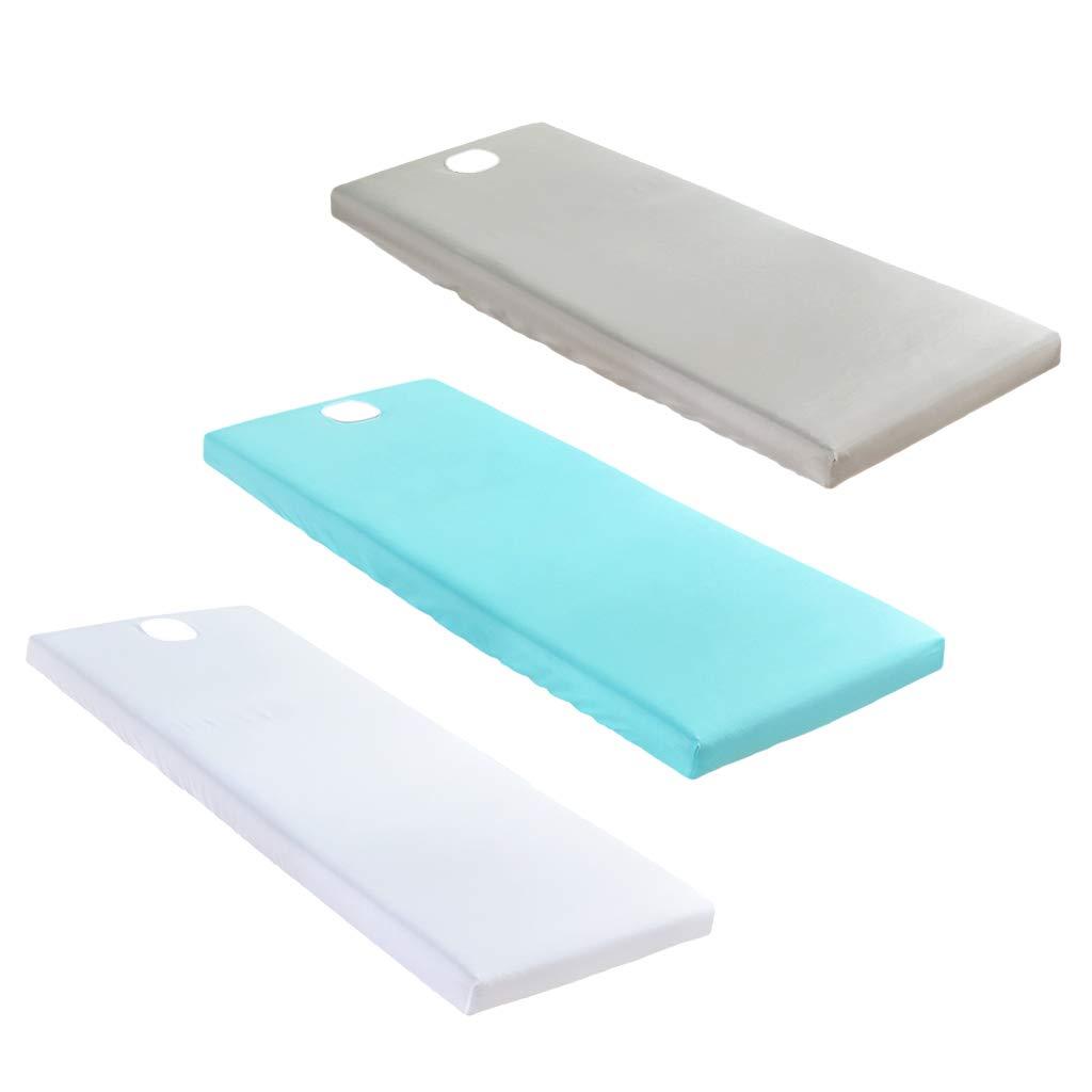 KESOTO Housse de Drap de Lit pour Table de Massage 3pcs - Blanc, Gris, Bleu