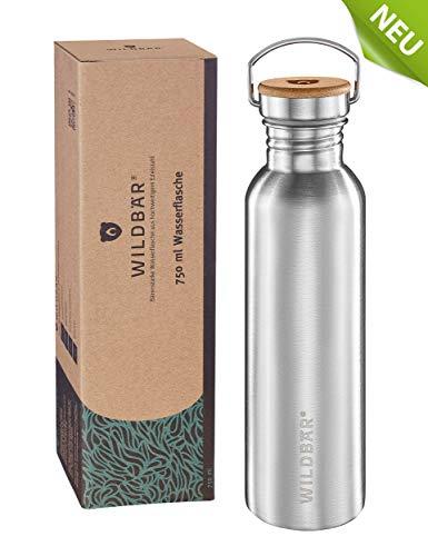 WILDBÄR® - NEU - Dichte Premium Edelstahl Trinkflasche ideal für Schule, Sport, Uni oder Outdoor, BPA-frei, kompakte einwandige Bauweise mit Bambus-Deckel, nachhaltig, ökologisch - 750ml
