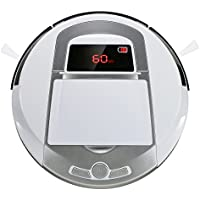 Robotic Vacuum Cleaner, Rechargeable Robotic Vacuum with Strong Suction and HEPA Double Filter, Anti-Cliff and Anti-Bump Sensor Robot for Pet Hair, Fur, Allergens, Thin Carpet, Hardwood and Tile Floor