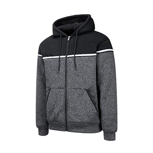 Hokivin Mens Juniors Casual Vintage Heavyweight Warm Zip Up Patchwork Colorblock Hoodies Sweatshirts Fleece Jacket Coat Plus Size Black Medium