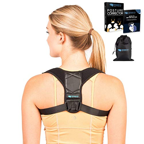 Posture Corrector for Men and Women - Adjustable Back Brace - Great for Back and Shoulder Support - Back Pain Relief - Comfortable Back Straightener with Carry Bag and Exercise eBook