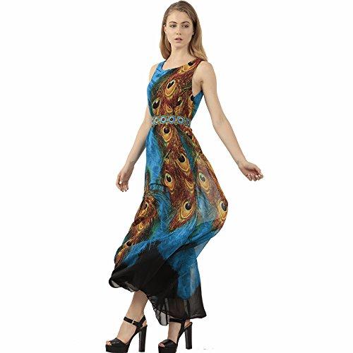 ZG&DD Flaming Peacock Feather Empire Waist Summer Boho Maxi Dress DD65 (XXX-Large)