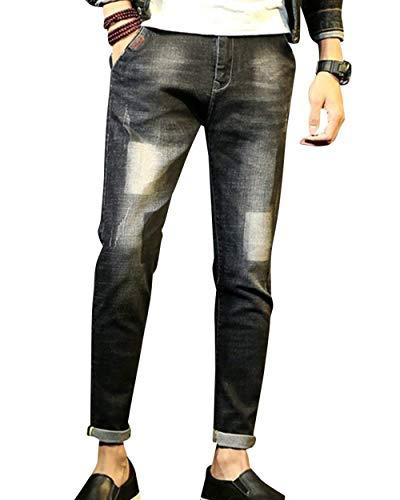 Vintage Stretch Giovane Nero Skinny Uomo Da Moda Pantaloni Jeans IFARP