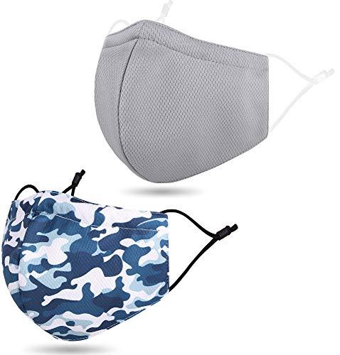 2 PCS Cloth Face Washable Reusable for Sports Outdoor Camo Blue/Grey