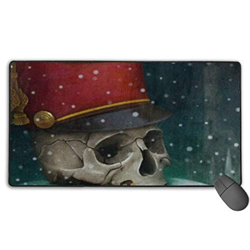 Large Mouse Pad Halloween Skull Red Hat Moon Winter Non-Slip Rubber Mousepad Gaming Pad 29.5x15.7 in -