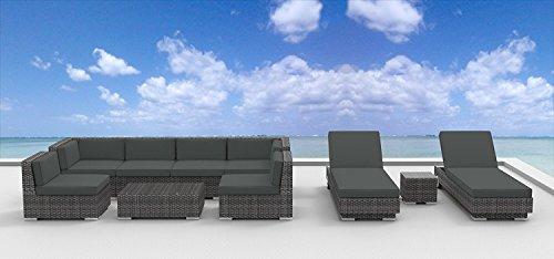 Urban Furnishing.net – Ibiza 10pc Modern Outdoor Wicker Patio Furniture Modular Sofa Sectional Set, Fully Assembled – Charcoal (Gray)