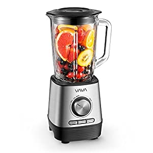 VAVA Smoothie Blender, Professional 500W Blender with 51 oz/1.5 L Glass Jar for Shakes, Smoothies, Ice, Soups & Nuts, FDA Approved, BPA Free, 3 Modes, 5 Speeds & Quiet Operation, Dishwasher Safe