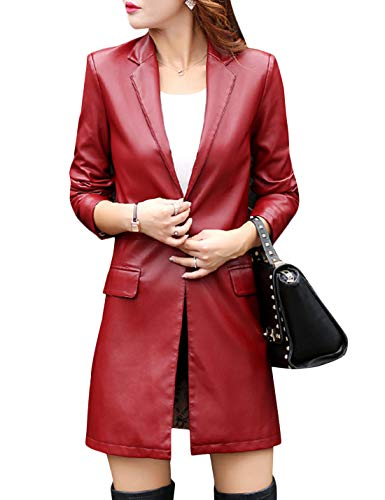 Tanming Womens Casual Lapel Long Leather Jacket Suit Coat Windbreaker Trench Coat (Wine Red, Small)