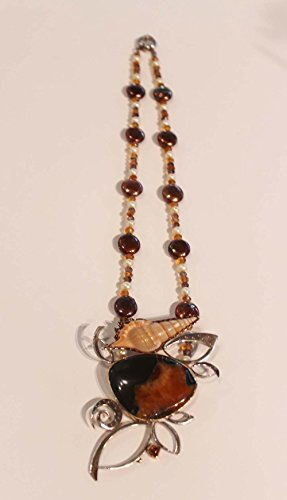 Barbara Umbel Unique Simbercite,Tibia shell,Citrine,smokey quartz,pearls,sterling silver handcrafted pendant pin. (Tibia Shell)