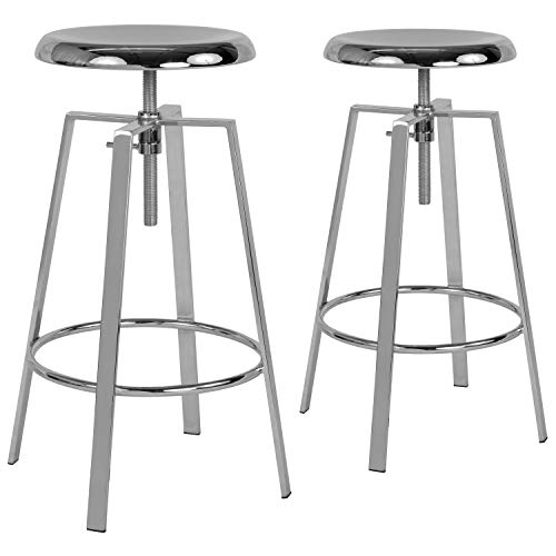 Chr Bar (Flash Furniture 2 Pk. Toledo Industrial Style Barstool with Swivel Lift Adjustable Height Seat in Chrome Finish)