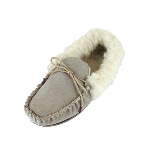 Deluxe Ladies Lambswool Moccasin Slippers with Hard Sole - Suede Upper (6 B(M) US, Beige)