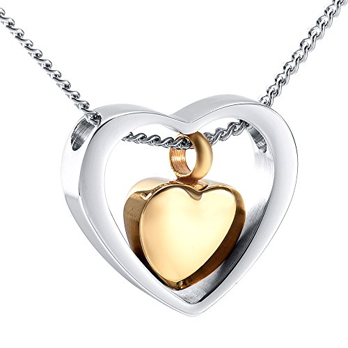 Double Heart Cremation Urn Necklace Ashes Keepsake Pendant Memorial Jewelry+Fill Kit