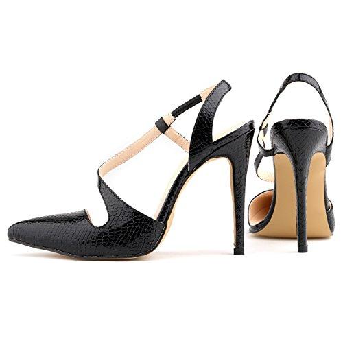 HooH Women's Pointed Strap Elastic Alligator Pattern Candy Color Stiletto Sandals Dress Pump Black h2nvCpm4DA