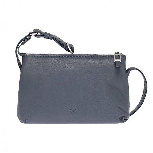 VOi elegante Umhängetasche 20755 Leder Abendtasche Ledertasche Schultertasche Blau