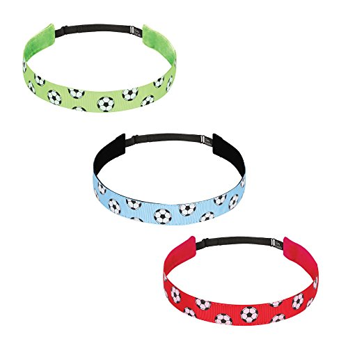 Bani Bands 3 Pack Women's Adjustable Headband with Non-Slip Lining Soccer Red, Lime, and Light Blue