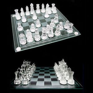 Chess & Checkers with Glass Chess Board -Clear & Frosted Pieces