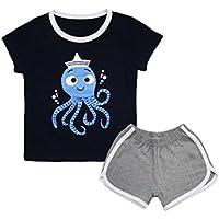 10STAR11 Boys 100% Cotton Soft Vivid Printing T-Shirt and Shorts Clothing Set