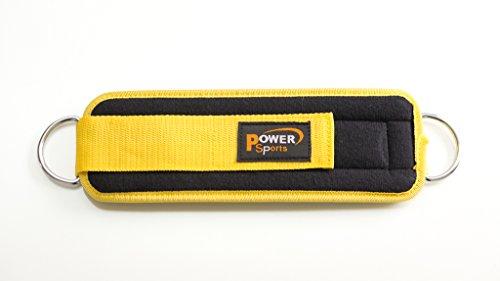 Power Sports cinghia per caviglia in neoprene color banana NYC,attacco per cavi macchina,crossfit,allenamento pesi,power lifting,palestra.Strap con chiusura in velcro