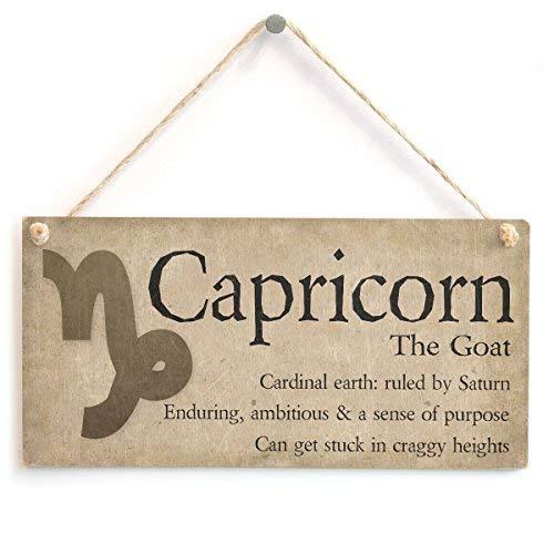 "Georgia Barnard Capricorn The Goat Beautiful Spiritual Gift Astrology Sign of The Zodiac Plaque Wall Decorative Sign Door Sign 10"" X 5"" Wood Sign"
