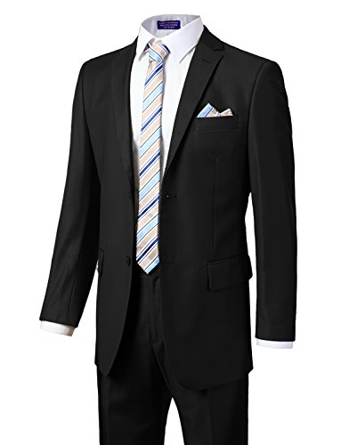 Fit Suit Trousers (MONDAYSUIT Men's Modern Fit 2-Piece Suit Blazer Jacket Trousers Set Black 40R)