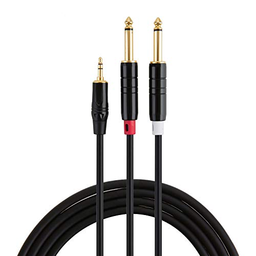 CableCreation 15FT 3.5mm 1/8' TRS to Dual 6.35mm 1/4' TS Mono Y-Cable Splitter Cable for iPhone, iPod,Laptop,CD Players,Power Amplifier,Mixer, Home Stereo Systems,4.5 Meters/Black