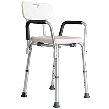 homcom adjustable medical shower seat bath chair w arms and backrest