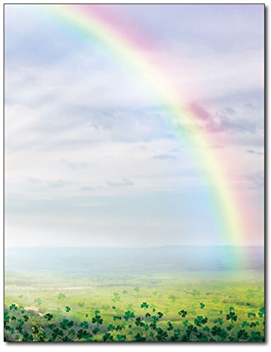 Lucky Rainbow Stationery Paper - 80 Sheets - Great for St. Patrick's Day Flyers, Letters, or (Patricks Day Invitations)