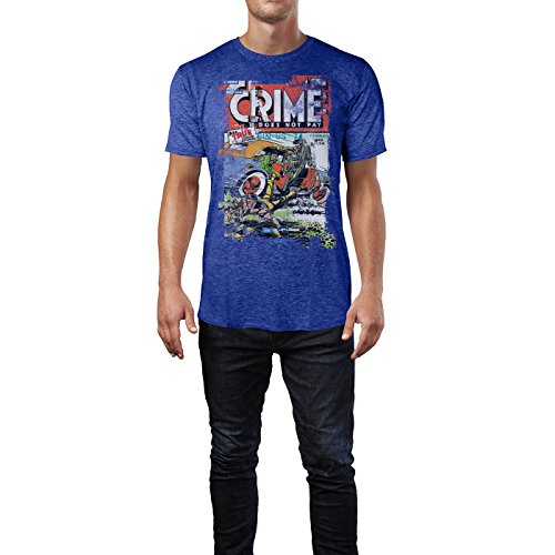 SINUS ART® Crime Does Not Pay Herren T-Shirts stilvolles blaues Cooles Fun Shirt mit tollen Aufdruck