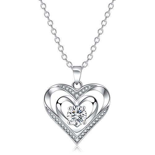 Double Heart Necklace 925 Sterling Silver with Cubic Zirconia Personalized Love Simple Recorder Charm Expensive Jewelry Memorial Pendants For Wedding, Women, Girlfriend, Girls, Mother and Daughter ()