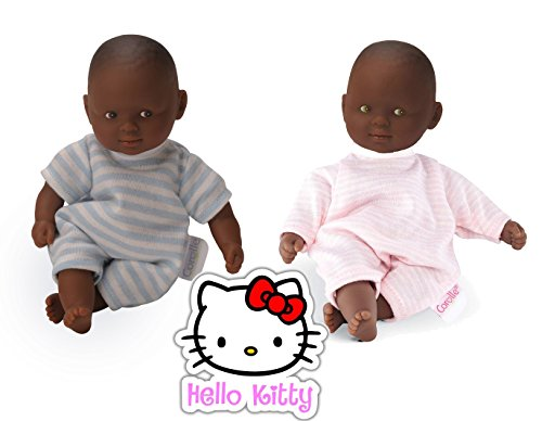 "Search : Corolle Mini 8"" Calin Dolls: Set of 2 African American Boy and Girl Twins, Eyes: Brown, Green; PJs: Blue, Pink and Hello Kitty Bonus Sticker"