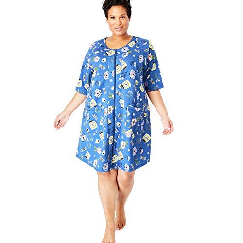Dreams & Co. Women's Plus Size Short Sleeve French Terry Robe - True Blue Garden, 1X