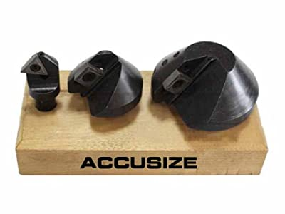 AccusizeTools - 3 Pcs/Set Indexable Carbide Countersink Set 90 Degree, 1/4'', 1/2'', 1-1/4'', #0046-0990