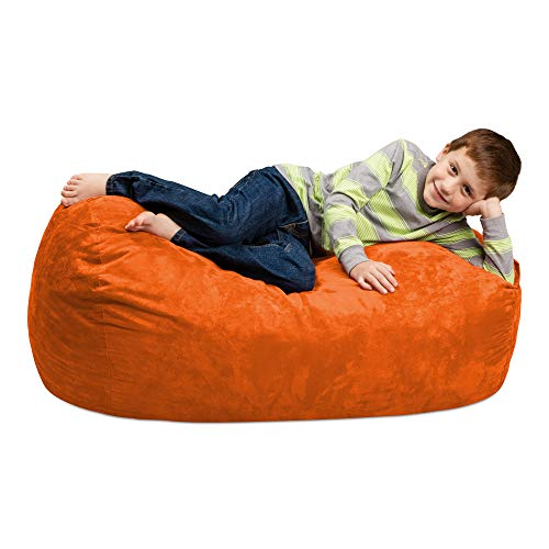 Chill Sack Bean Bag Chair: Large 4' Memory Foam Furniture Bag and Large Lounger - Big Sofa with Soft Micro Fiber Cover - Orange