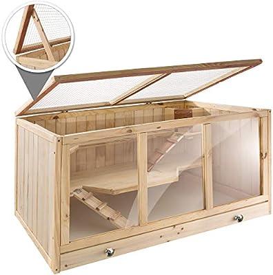 3 Niveles TecTake 403230 Jaula para Roedores Plexigl/ás Madera Caj/ón Rampas 95 x 50 x 50 cm