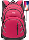 Backpack Bookbag for School College Student Laptop Travel Business with USB Charging Port Laptop Compartment Luggage Straps Anti theft Night Light Reflective (Pink)