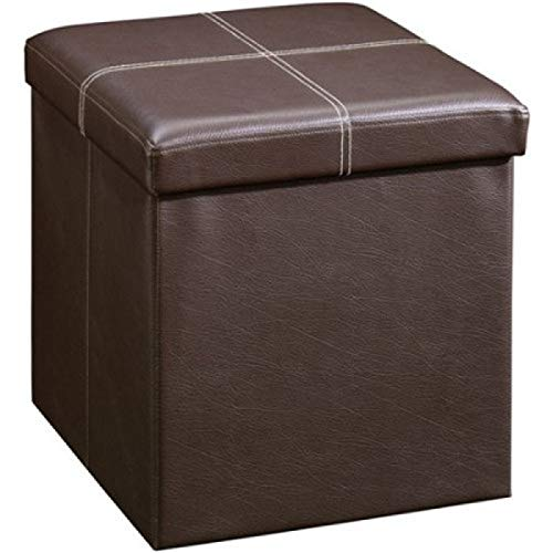 Tenozek PVC Leather Folding Square Shape Storage Footstool Surface w/Line Brown (Leather Footstool Storage)