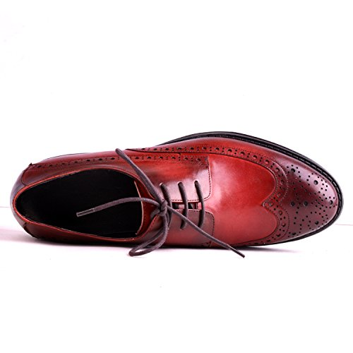 Santimon Heren Lederen Wingtip Lace-up Kwartaal Brogue Oxford Schoenen Rood