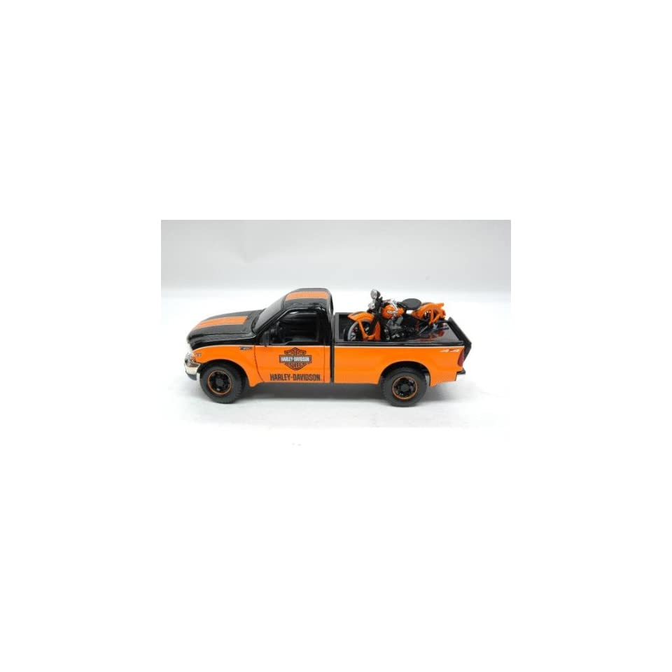 1999 Ford F350 Harley Davidson Truck 1/27 & 1936 Knucklehead Motorcycle BLack / Orange