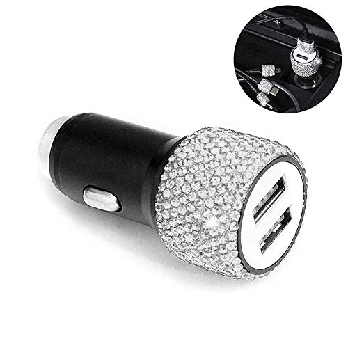 LAYOPO Rhinestones Bling Car Charger Adapter, 2-Port USB Car Charge with Handmade Crystal for iOS, Android, Color Optional ()