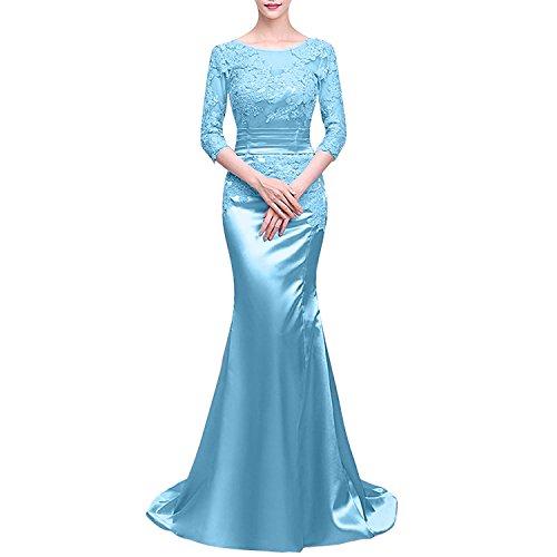 Hell Ballkleider Charmant Meerjungfrau Langarm Damen Satin mit Partykleider Abschlussballkleider Abendkleider Blau wqSz6qI